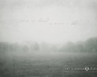 Foggy Landscape Photo, Field Fog, Foggy Morning, Misty Meadow, Country Field Photograph, Gray Grey Wall Art, Ethereal Art, Fog Photograph