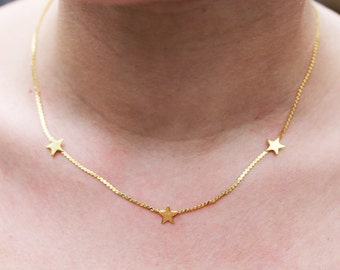 Three Star Necklace, Gold Star Necklace, Star Choker Necklace, Vintage Star Necklace, Star Charm Necklace, Star Chain Necklace
