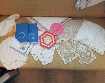 Vintage embroidered, linens, mixed lot,