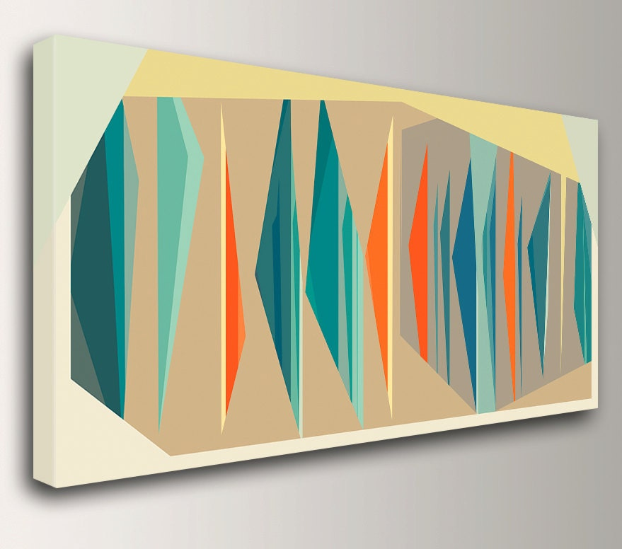 Mid Century Modern Art In Teal And Orange Large Canvas Print