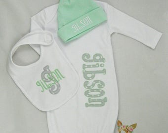 Gender Neutral Coming Home Outfit, Gender Neutral Layette, Personalized Gender Neutral Gown Set