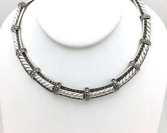 Sparkling Sterling Silver Rope and Marcasite Necklace