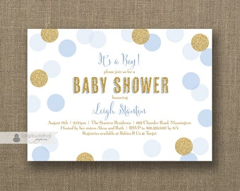 BOY BABY SHOWER Invitation Blue Gold Baby Boy Shower Invites Twin Boys Polka Dot Baby Sprinkle Invite Free Shipping or DiY Printable- Leigh