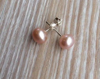 Pearl stud earrings 7-8mm, Pink fresh water pearls and 925 sterling silver UK made
