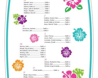 Tropical Hawaiian Hibiscus 6' Surfboard Seating Chart - Digital