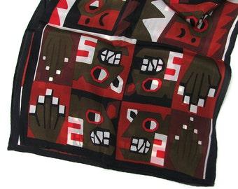 Vintage Geometric Silk Scarf, Aztec Textile Inspired, Boston Museum of Fine Arts, Olive Brick Brown Fabric