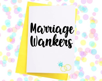 Funny wedding card funny card for weddings marriage wankers card