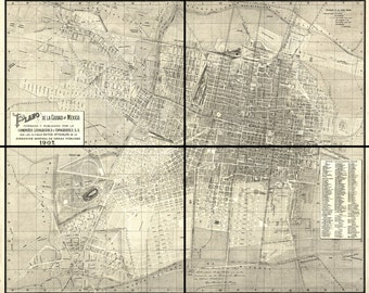 Vintage Maps - Mexico City, Mexico 1907  ( set of 4 sectionals )