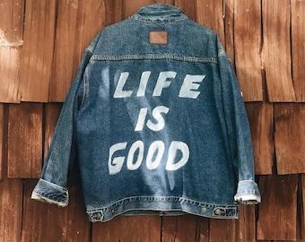 Vintage Hand-Painted Denim Jacket