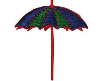 ID 3365 Beach Umbrella Patch Summer Ocean Vacation Embroidered Iron On Applique