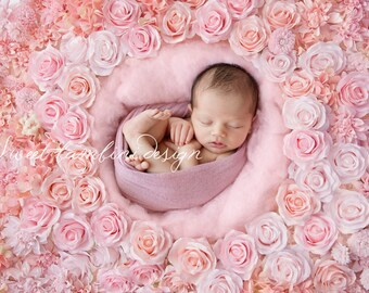 Newborn digital backdrop - Rosa Flower Wall