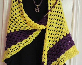 Crochet Shawl: Yellow & Purple Shawl