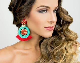Threader Earring, Ethnic Boho Earrings, Turquoise Statement Earrings, Tassel Earrings, Neon Earrings, Chandelier Earrings, Long Earrings