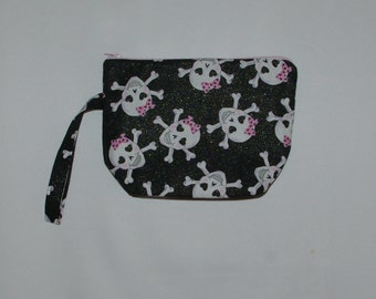 Cosmetic Wristlet Bag, Sugar Skulls, Clutch, Small Bag, Gift For Goth, Zombies, No Shipping Fee, Ready To Ship TODAY, AGFT 867