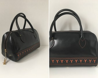 1990s YVES SAINT LAURENT authentic black monogram cabas leather bowling bag handbag