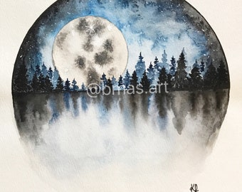 Original-Moonlit Forest Night