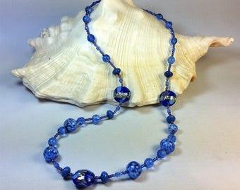 murano glass necklace, blue color, white Gold leaf 12 kt, gustav klimt, lampwork, handmade.