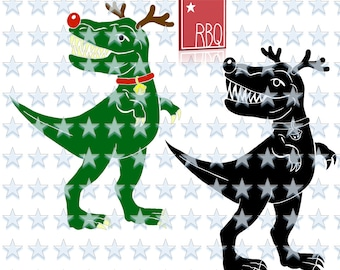 TRex Christams Tyrannosaur Rudolph red Nose Santa Helper T Rex Boy girl Dino lover cut file SVG dxf EPS Jpeg PNG pdf Vector commercial use