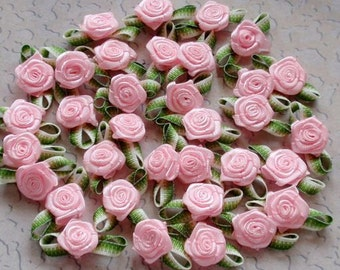 30 Mini Handmade Ribbon Roses (1/2 inch With Leaf Size 1 inch) In Lt Pink MY-021 - 12 Ready To Ship
