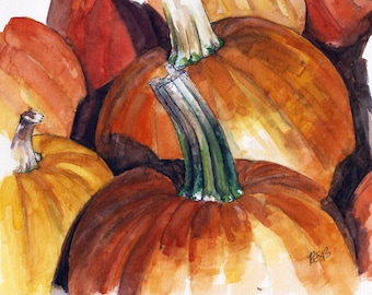"Discounted Original Pumpkin Painting - Original Watercolor Painting,""Pumpkin Patch"", Home Decor"