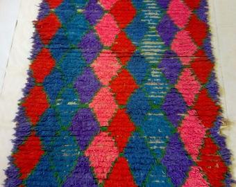 Moroccan boucherouite runner rug .berber runner rug .bojaad runner rug 250-95 cm