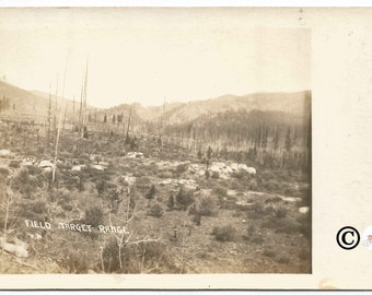 Field Target Range Real Photograph Postcard Military Test Site 1904-1918 Vintage Postcard 100 Years Old