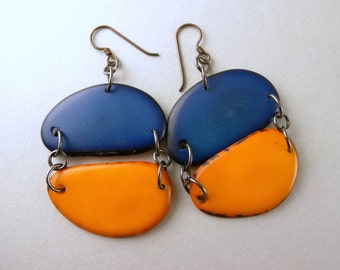 Cobalt Blue and Sunset Orange Tagua Nut Eco Friendly Earrings with Free USA Shipping #taguanut #ecofriendlyjewelry
