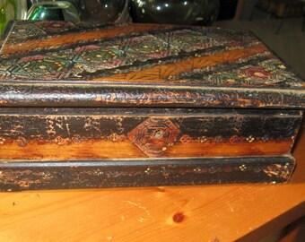 Antique Vintage painted Wooden Jewelry Box, Ornament wood box, Pyrography Trinket Box, Stash box