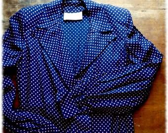 Vintage 1940s Blue & Pink Rayon Polka Dot Lounge Jacket Pant Set