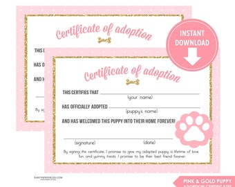 Pink and Gold Glitter Puppy Adoption Certificates, Puppy Party, Gold and Pink Puppy Party, Adoption center - Instant Download