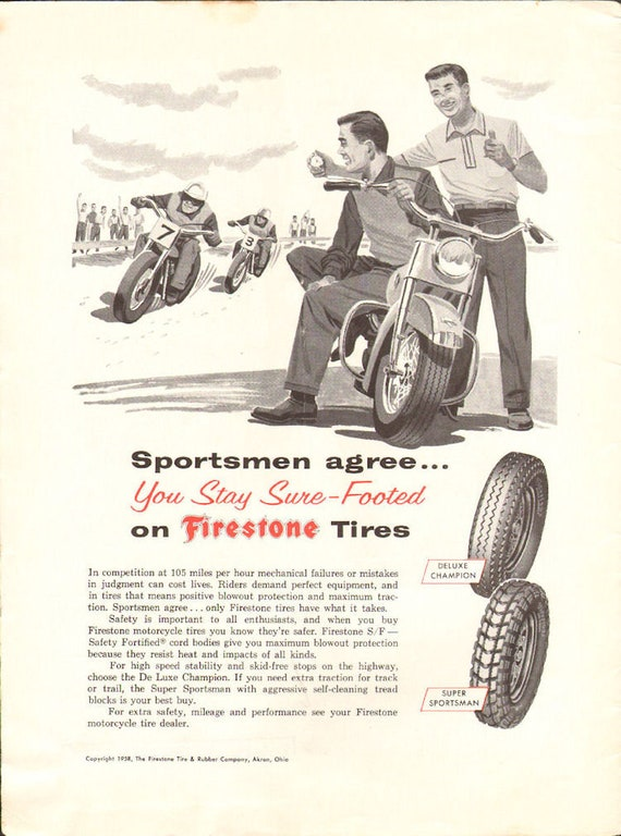 1958 Firestone Motorcycle Racing Tires Ad #5806amot09