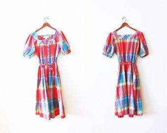 1970s Dress / Plaid Dress / Rainbow Dress / Madras Plaid / 70s Cotton Dress /  Button Front  / Peasant Dress / Boho Dress / 70s Dress Large