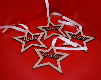 Personalised name Christmas Tree Star Decorations Laser Cut From Wood