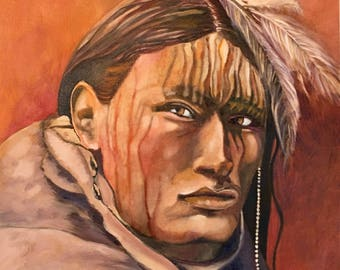 Sioux Warrior, Original Oil Painting, Wall Art, Wall Decor, Indian Warrior, Native Youth