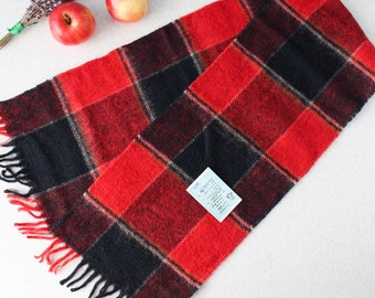 80's New Soviet Vintage Woolen red black mens scarf Fall Winter plaid wool scarf with fringes Tartan preppy winter Scarf USSR 1980's w/tags