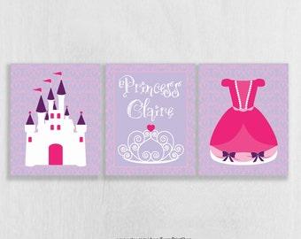Princess Nursery Decor - Pink and Purple Nursery Wall Art Prints Set of 3 - Personalized Nursery Art - Princess Castle - Wall Art for Girls