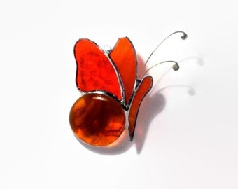 Butterfly Orange Stained Glass Suncatcher