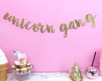 Unicorn banner - unicorn party - unicorn decorations - unicorn birthday banner - pink birthday party - girls birthday - gold decorations