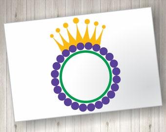 Monogram Mardi Gras Crown SVG File