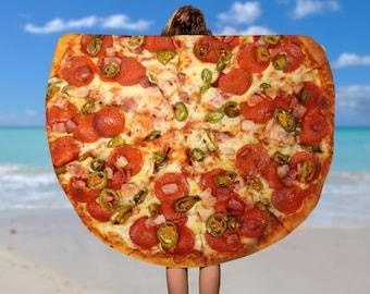Round Beach Towel Food, Pizza Beach Towel  Beach Blanket, Circle beach Towel,60 inch round towel,Circle Towel, Large Beach Towel