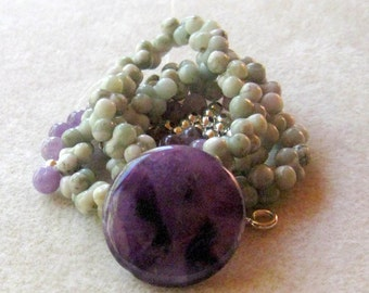 Peace Jade Amethyst Pendant Focal Bead Kits DIY Jewelry Kit Craft Supplies Jewelry Supplies Necklace Design Semi Precious Gemstones Beads