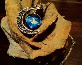 Moon Necklace Moon Growing space galaxy necklace