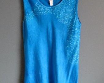 Silk tank top, turquoise batik, size M, hand dyed