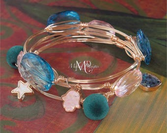 Wire Wrapped Bangles Set of 3 Pink Blue Teal w/Charms