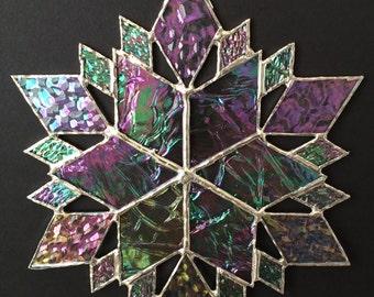 stained glass snowflake suncatcher  (design 36C)