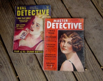 Master Detective and Real Detective pulp crime magazines 1938