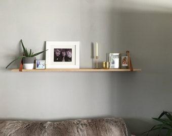 Leather strap wooden shelf
