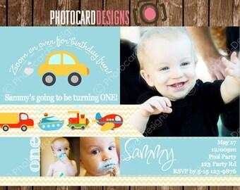 Cars Train Planes Birthday Invitation, Photo Invitation, Party | Card | Digital | Print file | invite | Automobile | Trucks | Boy Invitation