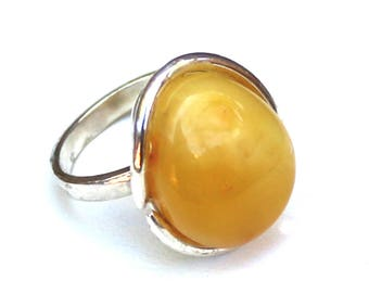 Baltic Amber Jewelry Butterscotch Yellow Natural Untreated Ring Adjustable 7.7 gram 925 Silver