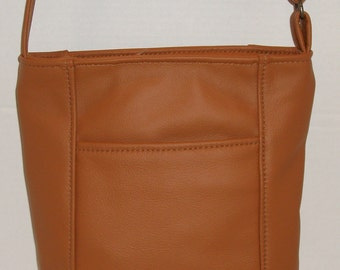 Emily Style cross body leather purse-made in the USA- caramel color leather- other colors available